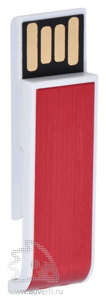 USB flash-карта «Slider», красная, открытая