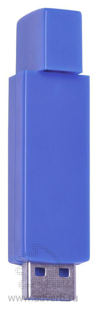 USB flash-карта «Twist», синяя полуоткрытая