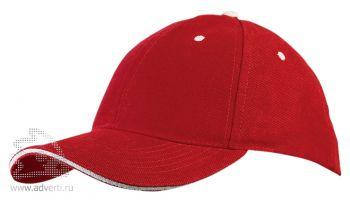 Бейсболка «New Castle», красный/натуральный