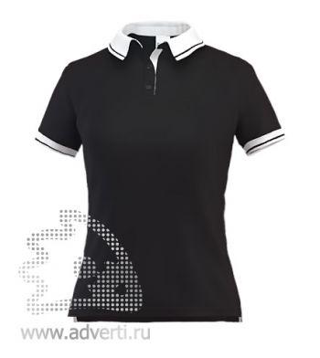 Рубашка поло «Stan Contrast W», женская, черная с белым