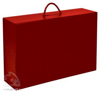 Коробка складная подарочная с ручкой, красная