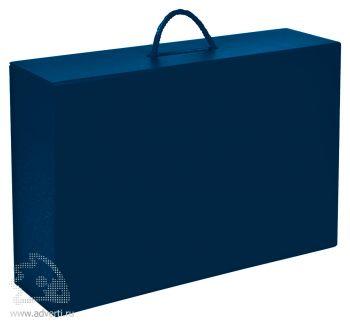 Коробка складная подарочная с ручкой, синяя