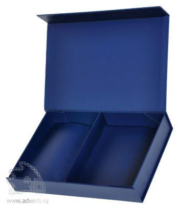 Коробка подарочная складная со съемным разделителем, темно-синяя