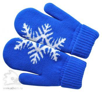 Варежки «Сложи снежинку!» с теплой подкладкой, синие