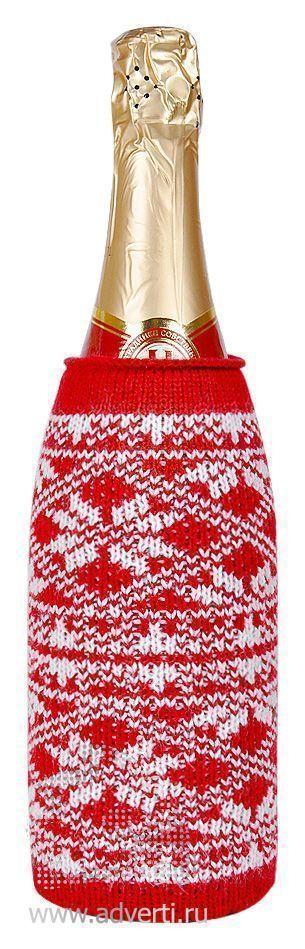 Чехол вязаный на бутылку/термос «Зимний орнамент», красный