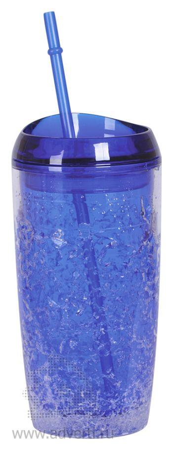 Кружка охлаждающая «ICE» с соломинкой, синяя