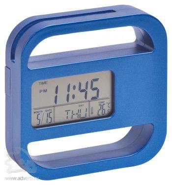 Часы-подставка для скрепок и записок «Window», синие