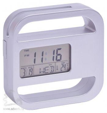 Часы-подставка для скрепок и записок «Window», серебристые