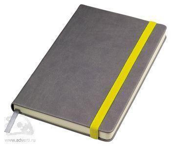 Бизнес-блокнот «Fancy» с желтой резинкой