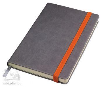 Бизнес-блокнот «Fancy» с оранжевой резинкой