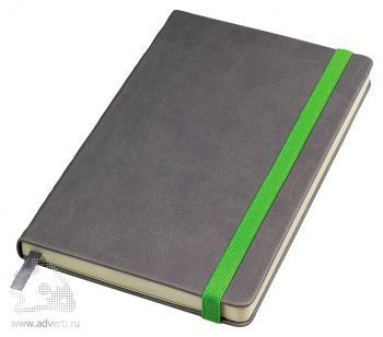 Бизнес-блокнот «Fancy» с зеленой резинкой