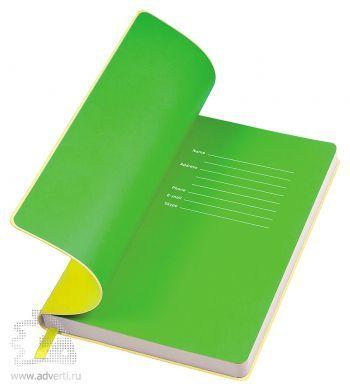 Бизнес-блокнот «Funky», желтый с зеленым