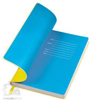 Бизнес-блокнот «Funky», желтый с голубым