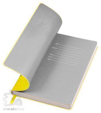 Бизнес-блокнот «Funky», желтый с серым