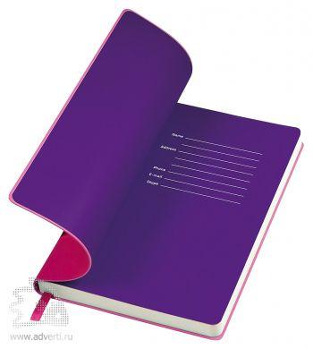 Бизнес-блокнот «Funky» с серой подложкой, розовый с фиолетовой подложкой