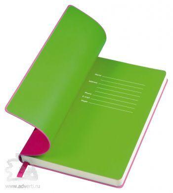 Бизнес-блокнот «Funky» с серой подложкой, розовый с зеленой подложкой