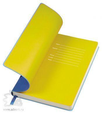 Бизнес-блокнот «Funky», голубой, форзац - желтый