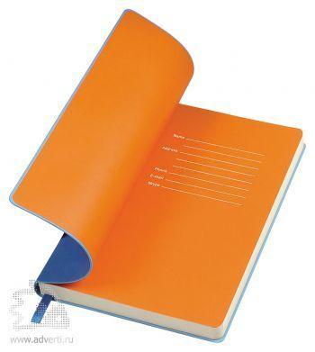 Бизнес-блокнот «Funky», голубой, форзац - оранжевый