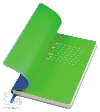 Бизнес-блокнот «Funky», голубой, форзац - зеленый