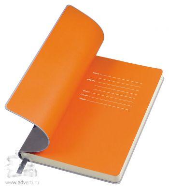 Бизнес-блокнот «Funky», серый, форзац - оранжевый