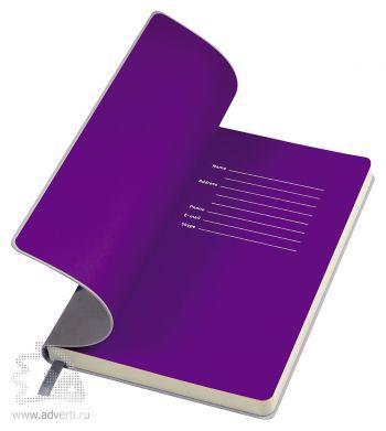 Бизнес-блокнот «Funky», серый, форзац - фиолетовый