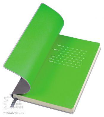 Бизнес-блокнот «Funky», серый, форзац - зеленый