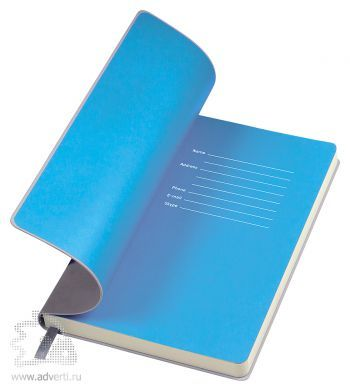 Бизнес-блокнот «Funky», серый, форзац - голубой