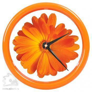 Часы настенные «Print» для рекламной вставки, оранжевый обод