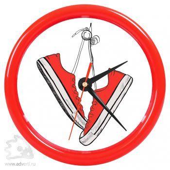 Часы настенные «Print» для рекламной вставки, красный обод