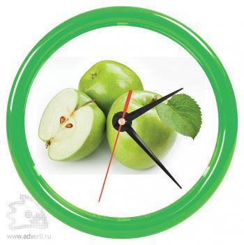 Часы настенные «Print» для рекламной вставки, зеленый обод