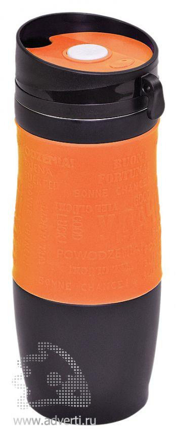 Термостакан вакуумный «Удача», оранжевый