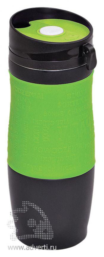 Термостакан вакуумный «Удача», зеленый