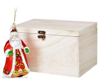 Игрушка елочная ручной работы «Дед Мороз» в деревянной коробке, общий вид
