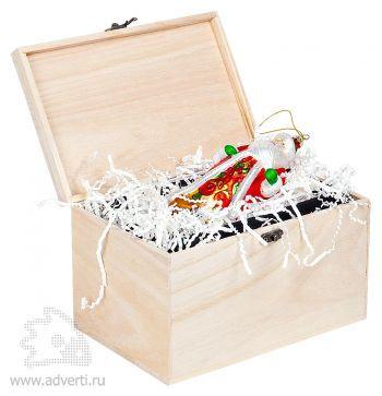 Игрушка елочная ручной работы «Дед Мороз» в деревянной коробке, дизайн упаковки