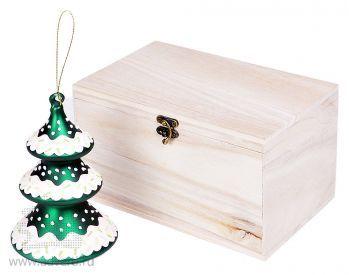 Игрушка елочная ручной работы «Елка» в деревянной коробке,  общий вид