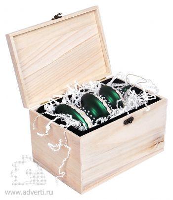 Игрушка елочная ручной работы «Елка» в деревянной коробке,  дизайн упаковки