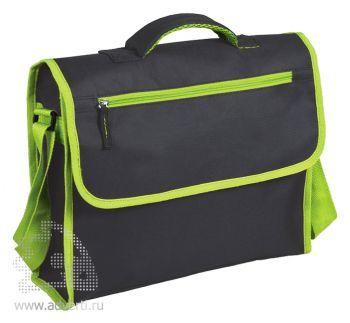 Конференц-сумка «Active» с карманом на молнии, зеленая