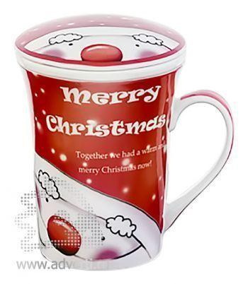 Кружка заварочная «Merry Christmas» с крышкой в подарочной упаковке