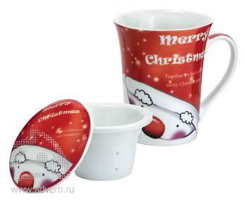 Кружка заварочная «Merry Christmas» с крышкой в подарочной упаковке, набор