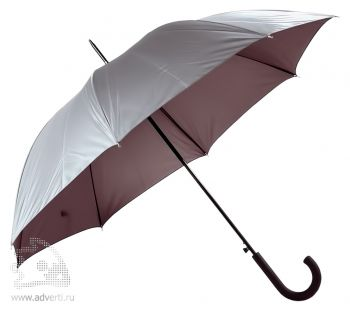 Зонт-трость «Unit Wind», полуавтомат, серебристый