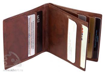 Футляр для пластиковых карт, коричневый, внутренний дизайн
