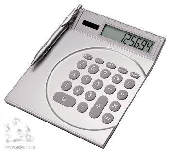 Калькулятор с ручкой и линейкой серебристый