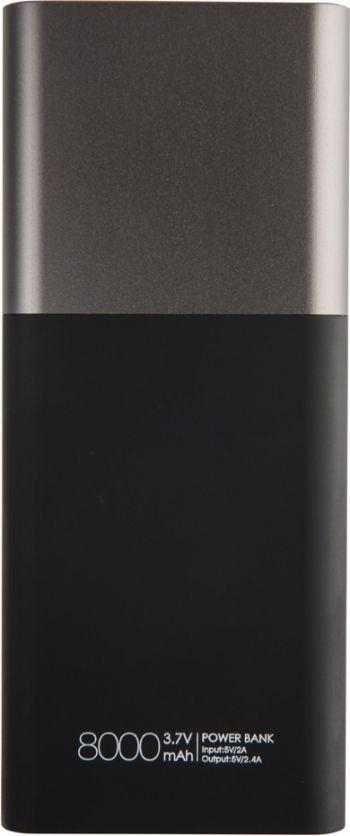 Универсальное зарядное устройство «Black gun» 8000 mAh, серое, оборотная сторона