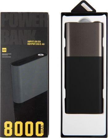 Универсальное зарядное устройство «Black gun» 8000 mAh, серое, в коробке