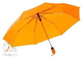 Зонт «Wood», полуавтомат, 3 сложения, оранжевый