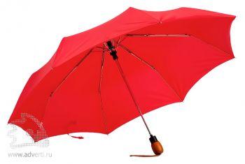 Зонт «Wood», полуавтомат, 3 сложения, красный