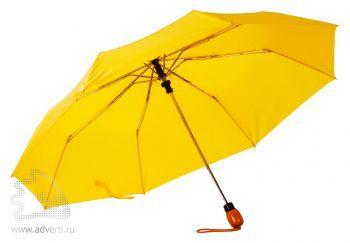 Зонт «Wood», полуавтомат, 3 сложения, желтый