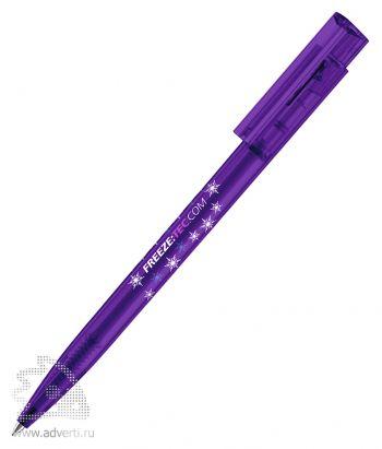 Шариковая ручка «New Hit frosted», фиолетовая, пример нанесения