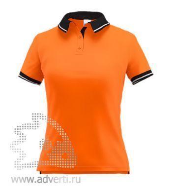 Рубашка поло «Stan Contrast W», женская, оранжевая с черным