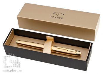 Ручка-роллер «Parker IM Deluxe Gold GT», футляр для хранения